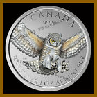 Canada 5 Dollars Silver Coin 1 oz 2015 Horned Owl Colorized Bird of Prey