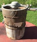 OLD VTG ANTIQUE HAND CRANK PEERLESS DANA WOODEN 6 QT ICE CREAM FREEZER MAKER