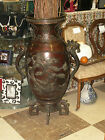 LARGE ANTIQUE JAPANESE BRONZE PALACE URN WITH PANELS OF CRANES BIRDS PEACOCKS