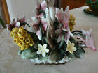 Absolutely Beautiful Vintage Ceramic Basket of Unique Flowers Made in Italy