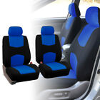 2 Front Car Seat Covers Blue Black Full Set for Auto w/Head Rest