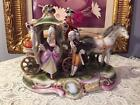 ANTIQUE HORSE AND CARRIAGE COACH MAN WOMAN AND COACHMAN GERMANY