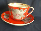 HUGE RUSSIAN FEDERATION TEA CUP AND SAUCER RED WITH HANPAINT GRAY FLOWERS-GOLD