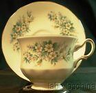 Queen Anne England Tea Cup and Saucer Orange Blossoms Molded Fancy Teacup Duo