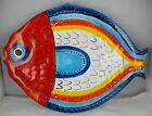 Vtg DeSimone Pottery Figural Fish Serving Platter Hand Painted Italy - Signed