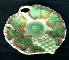 Majolica Pottery Multi Color Leaf Pattern with Grapes and Vine Platter Germany