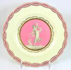 HTF ANTIQUE MINTON CHINA PA1804 PLATE RAISED GOLD ENCRUSTED PINK FIGURAL BRAIDED