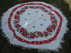 Vntg Round Christmas Tablecloth White w Red Poinsettia Print Cotton w Fringe 62