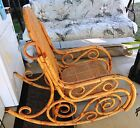 Antique Bentwood Bamboo Rocking Chair Hand Tied Double Cane Seat