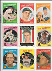 1959 Topps Baseball Lot - 25 Different Cards - ExMt Condition