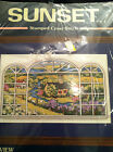 Sunset  Stamped Cross Stitch Kit Window Pane View  Church in Country #13103