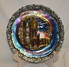Vintage Fenton Carnival Glass Christmas Plate - 1971 The Old Brick Church