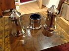 Vintage Sheffied Silver Plate 3 piece Cruet set,with Original Blue glass Liner