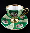 Saucer Courting Couple Green White Heavy Gold