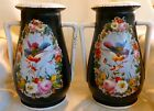 ANTIQUE Pair of OLD PARIS Mantle Vases FRENCH Hand Painted Birds Flowers LARGE