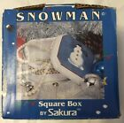 Sakura Debbie Mumm Snowman Square Box With Lid Trinket Covered Candy Dish