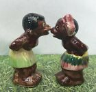 Black Boy Girl Couple Americana African KISSERS Salt and Pepper Shakers Vtg RARE