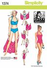 Simplicity Patty Reed Pattern 1374 Misses Two-Piece Swimsuits, Beach Cover Up