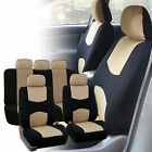 Car Seat Covers Beige Black Set for Auto SUV Trucdk w/5 Headrests