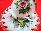 SHAFFORD TEACUP SAUCER RETICULATED PIERCED HEARTS