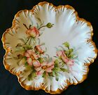 RARE MARK LIMOGES DECORATIVE CABINET PLATE HAND PAINTED SIGNED PINK ROSES GOLD
