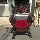 Antique Winged Griffen Arm Chair 6 Lion Heads Claw Feet Great Chair