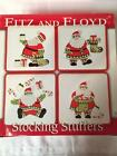 Fitz and Floyd STOCKING STUFFERS Set of 4 Ceramic Snack Plates in Box