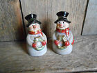 Country Snowman Salt and Pepper Shakers Plastic Caps in Bottoms 3 1 8 Tall