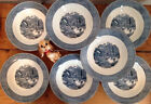 Ives Early Winter~7 Soup  Cereal Coupe Bowl~blue white