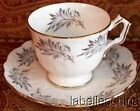 Aynsley England Tea Cup and Saucer Crocus Soft Gray Mocha Feathers Fancy Handle