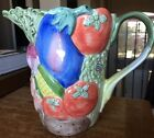 Embossed FITZ & FLOYD Vegetable Garden Pitcher Majolica Embossed 1 3/4 Qts