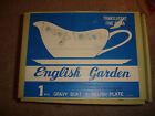 NOS English Garden gravy Boat with Relish Plate - In original box never used