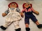 Vintage Hand Sewn Raggedy Anne and Andy Doll Set, signed Kissinger