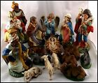 ANTIQUE HAND PAINTED 18 PIECE ITALY PAPER MACHE NATIVITY SET LARGE 12