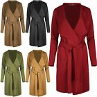 Womens Ladies Long Sleeve Oversized Waterfall Italian Blazer Belted Duster Coat