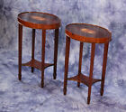Pair 2 HEKMAN Inlaid Hepplewhite Oval Occasional Tables Side Lamp End Antique