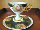 HIGH PEDESTAL SHAFFORD TEACUP AND SAUCER BLACK TRIM WITH COURTING SCENES