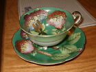 Vintage Trimont China Occupied Japan Tea Cup and + Saucer Set Green With Floral