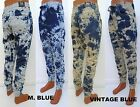 Mens IMPERIOUS Blue Vintage tie dye wash biker denim joggers style DP516