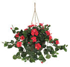 Nearly Natural Silk Hibiscus Hanging Plant in Basket