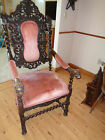 Hand carved black oak gothic dining chair pre 1800's