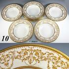 Fine Set of 10 Antique Royal Doulton Soup Plates, Raised Gold Enamel Encrusted