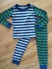 Hanna Andersson Green Blue Striped Long Pajama Set Size 110 Or 5T.