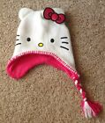 NWOT, Girls Hello Kitty beanie cap, grey w/kitty face, pink bow, hair