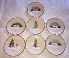 7 LAMAS Made In ITALY Pottery Salad/Dessert Christmas/Winter Plates