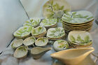 VINTAGE RED WING POTTERY MAGNOLIA PATTERN GRAY CHINA 45 PC SET HAND PAINTED