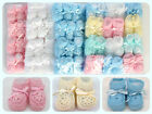 Crochet Booties Ribbon Baby Newborn Pink White Blue Unisex 0 3 Month Pack of 12