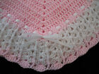 NEW Handmade Crochet Baby Blanket Afghan Pink and White