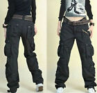 Men Womens Military Dance loose Street Pockets Pant Baggy Straight Trouser 28-38