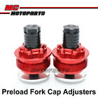 Red CNC Preload Fork Cap Adjusters For Kawasaki ZEPHYR 750 ZR750 1991-2007